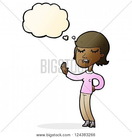 cartoon woman ignoring with thought bubble