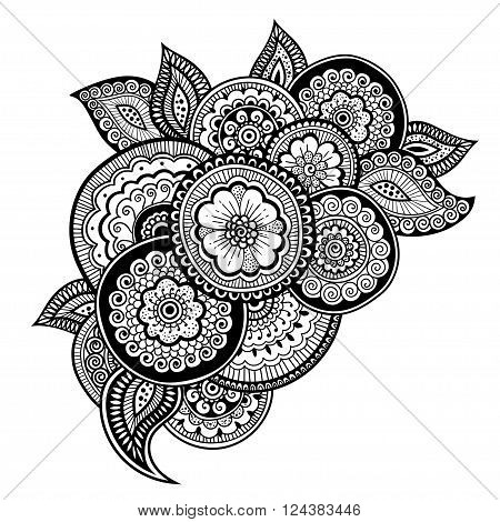 Zen-doodle or Zen-tangle floral pattern. Composition in style mehndi. Vector illustration.