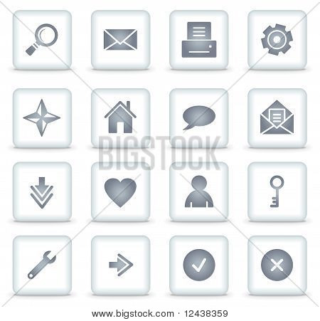 Basic Vector Web Icons, White Square Buttons