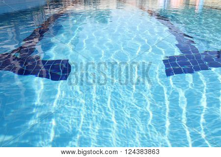 The swimming pool is outdoors. Pure blue water.