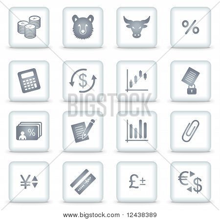 Finance Vector Web Icons, White Square Buttons