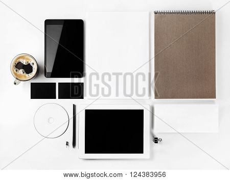 Photo of blank stationery set. Blank corporate identity template for branding identity for designers. Mockup for ID. Top view.
