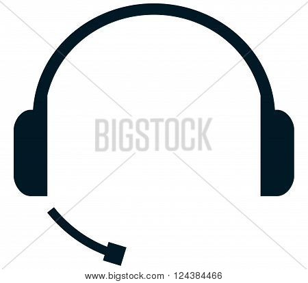 Handsfree headset with headphones and mic vector illustration