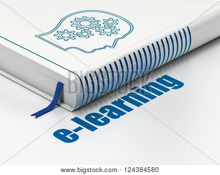 Learning concept: book Head With Gears, E-learning on white background