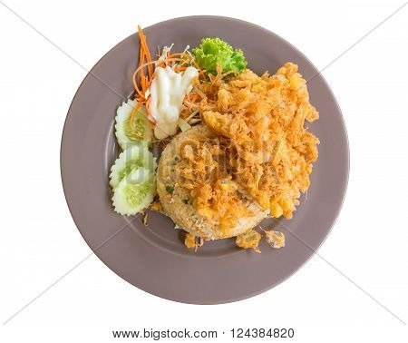 Pork Fried Rice With Omelet Isolate On White Background