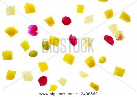 Pieces Of Fruits On White.