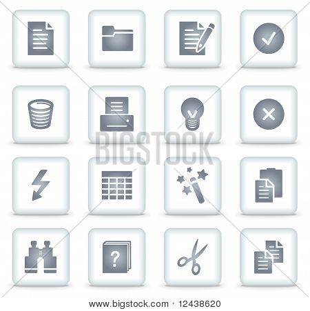 Document Vector Web Icons, White Square Buttons