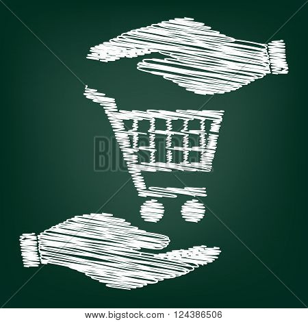 Shopping cart sign. Flat style icon with scribble effect