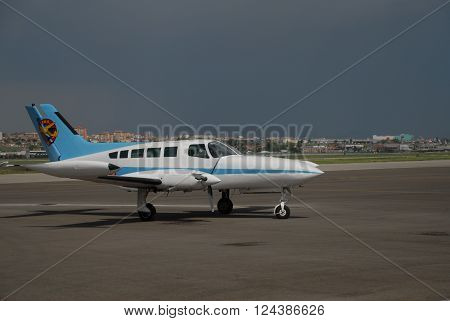 ANKARA/TURKEY-MAY 6, 2012: Cessna 402 Businessliner aircraft at the THK Etimesgut Airport during the air fest. May 6, 2012-Ankara/Turkey