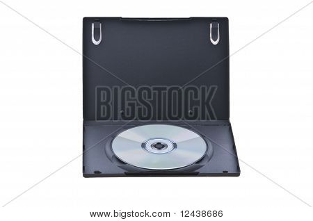opened dvd box with empty disc isolated