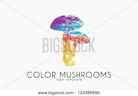 Mushrooms logo. Color mushrooms. Creative logo. Forest mushrooms