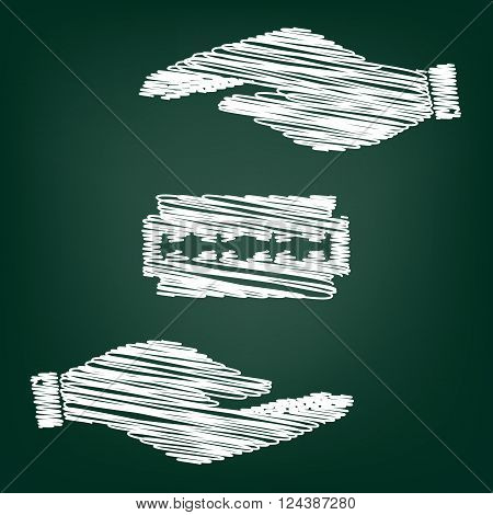 Razor blade sign. Flat style icon with scribble effect