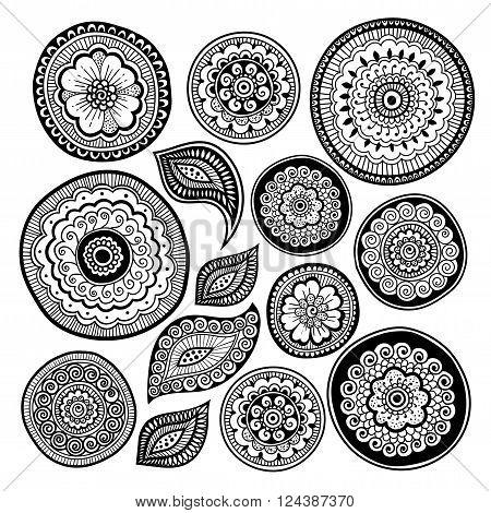 Zen-doodle or Zen-tangle elements for your creation. Mehndi style. Vector illustration.