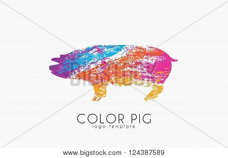 Pig. Pig logo. Color pig. Creative logo design