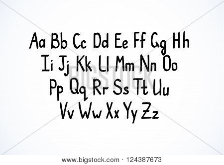 Hand-writing scribble vector font latin letters alphabet