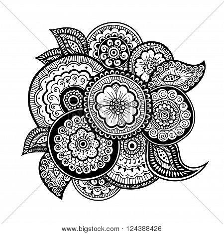 Zen-doodle or Zen-tangle floral pattern. Composition in style mehndi.  Vector illustration