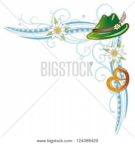 Oktoberfest vector decoration, pretzel, hat and edelweiss.