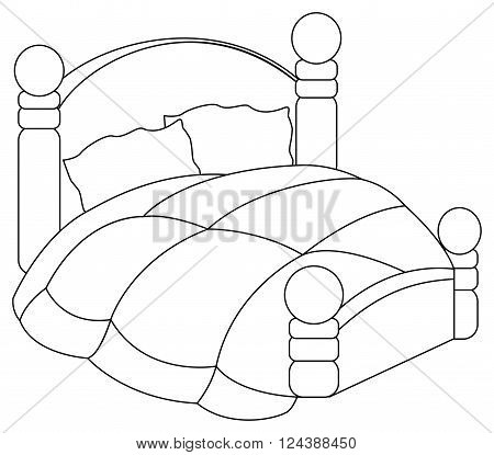 Vector illustration of bed with pillows and blanket