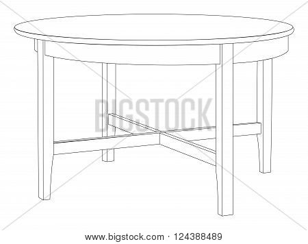 Vector illustration of round and wooden table