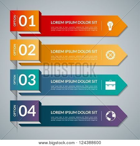 Infographic template with 4 steps parts, options. Vector banner with business icons and design elements. Can be used for web, chart, graph, diagram, report, workflow layout. Origami style