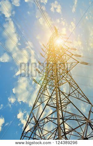 Tower of electricity transmission line, Sunshine light.
