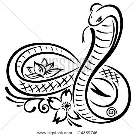 Snake and lotus flower, beautiful waterlily, floral vector decoration with infinity.