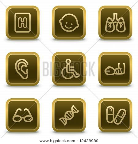 Medicine Web Icons  Square Brown Buttons