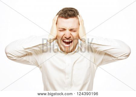 young office worker mad by stress screaming