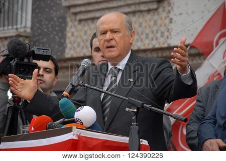 ANKARA/TURKEY-MARCH 8, 2014: Nationalist Movement Party-MHP's Leader Devlet Bahceli at the Mamak district meeting before Municipal Elections of Turkey. March 8, 2014-Ankara/Turkey