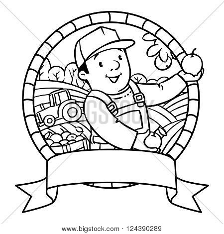 Coloring book or emblem of funny farmer or gardener in overall and baseball cap with apples in his hands near the apple tree, with boxes of apples. Profession series. Children vector illustration.