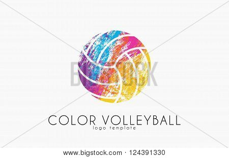 Volleyball logo. Volleyball ball logo design. Color ball. Creative logo. Sport logo