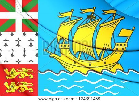 Flag Of Saint Pierre And Miquelon, France.