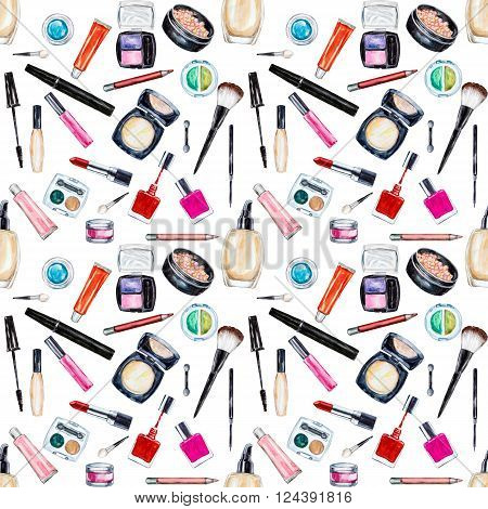 Seamless watercolor pattern with cosmetic beauty items mascara lipstick foundation cream brushes eye shadow nail polish powder lip gloss. Hand drawn cosmetics background fashion glamour pattern