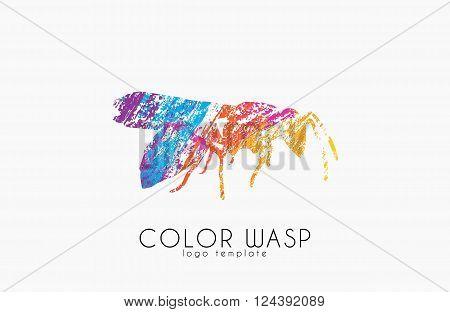 Wasp logo design. Color wasp design. Creative logo