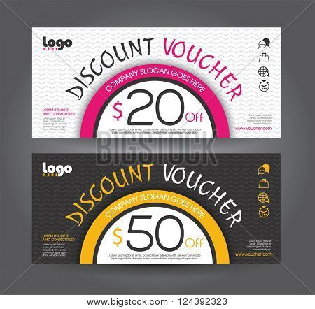 Discount voucher template with clean and modern pattern. Vector illustration.
