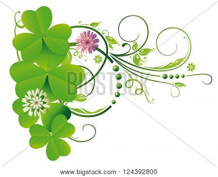 Clover tendril, Silvester decoration with realistic shamrocks.