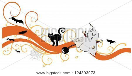 Halloween tendril, with ghost, black cat and bats.
