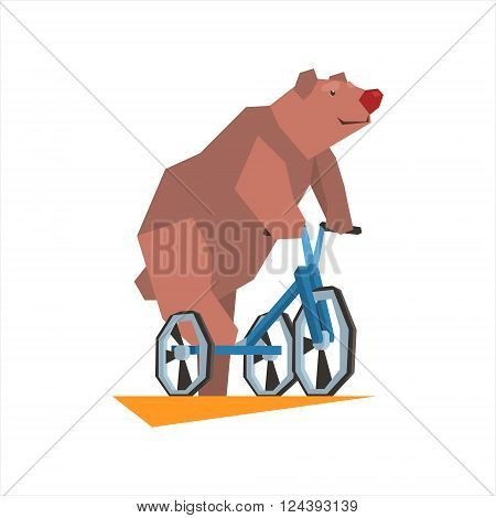 Circus Bear Riding Tricycle Graphic Flat Vector Design Isolated Illustration On White Background