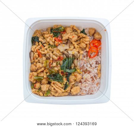 Ready To Eat Rice Box Vegetarian Food For Lunch Isolate On White With Clipping Path