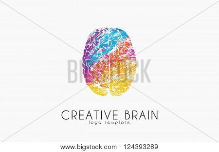 Brain logo. Color brain logo design. Creative brain. creative logo.