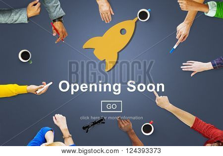 Opening Soon Launch Welcome Advertising Commercial Concept