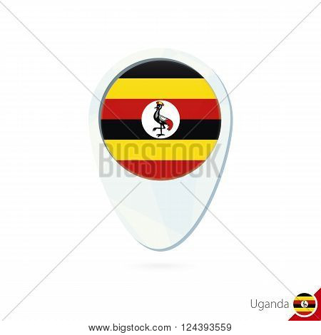 Uganda Flag Location Map Pin Icon On White Background.