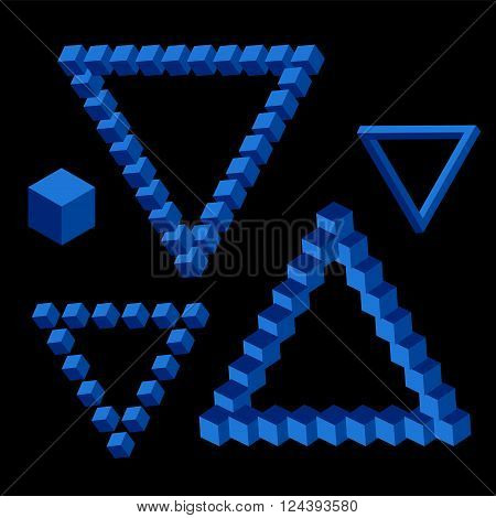 Vector triangle isometric shape of  blue color. Abstract figures with repeat on black background