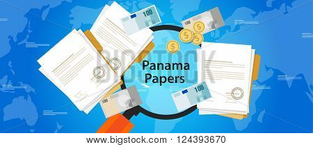 panama papers leaked document money laundering crime vector