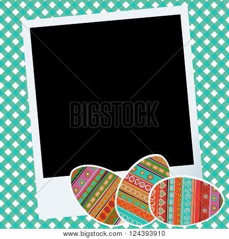 Easter scrapbook with eggs and photo frame