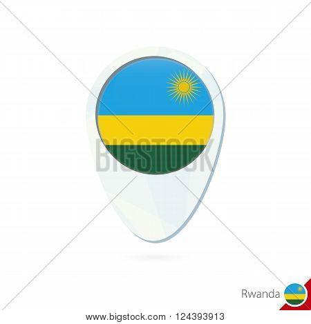 Rwanda Flag Location Map Pin Icon On White Background.
