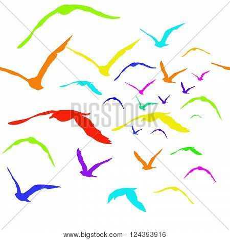Illustration of colored birds silhouettes seamless pattern