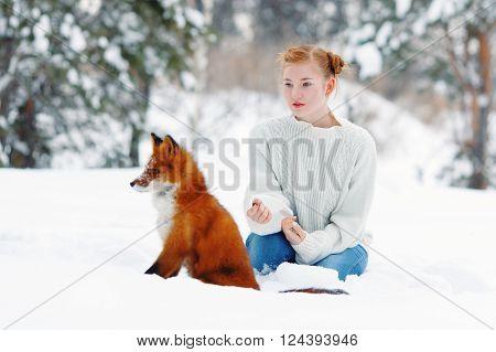 Beautiful Girl With Red Fox On Walk