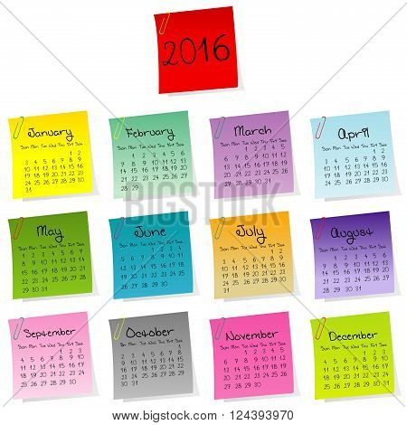 2016 calendar made of colored sheets of paper