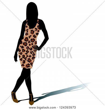 Beautiful woman model silhouette in leopard skin dress